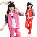 Girls Clothing Sets Cotton Floral Print Sports Suits For Children Tracksuits Spring Kids Outfits Teenage Baseball Uniforms H004