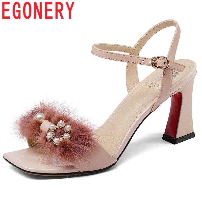 EGONERY mujeres zapatos nuevos zapatos de moda de cuero genuino de tacón  cuadrado Correa hebilla de 14b0b668e569
