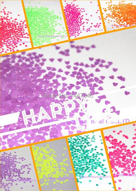 Muy Lindo 12 en Forma de Corazón, de Neón de Colores Lentejuelas de Uñas de brillo Resistente A los Disolventes para el Arte Del Clavo 1 Paquete = 120g