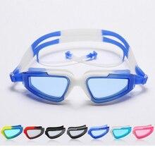 Men Women Plating Waterproof Anti Fog UV Protection Eyewear Swimming Goggles Optical Swim Glasses With Earplugs On Silicone Belt