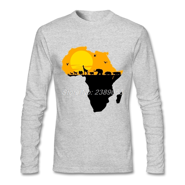 89578dbcb Mens Online T Shirts Fashion Cheap Africa Tee Shirts Graphic Long Sleeve  Animal T-Shirt Adult