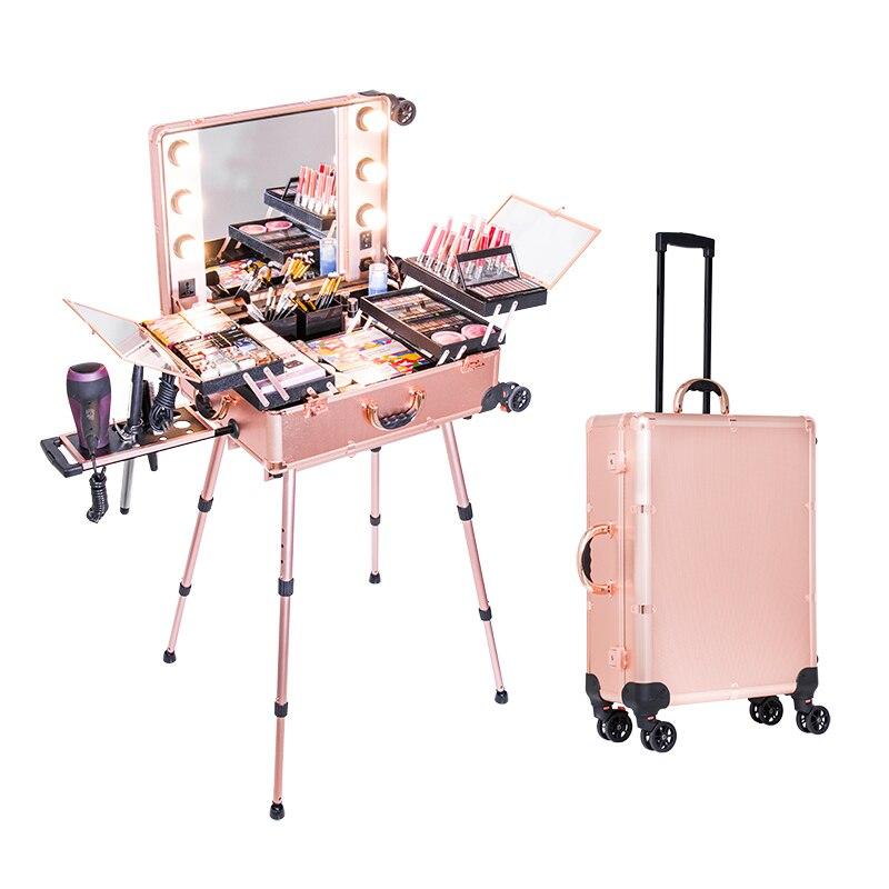 Роллинг макияж Чехлы макияж художника поезд коробка косметичка большой вместительности тележка чемодан красота ногтей ящик для хранения и...