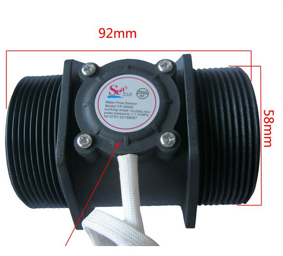 DHL or EMS free shipping NEW 10pcsG 2 inch Water Flow Flowmeter Counter Hall Sensor Switch Meter 10-200L/min