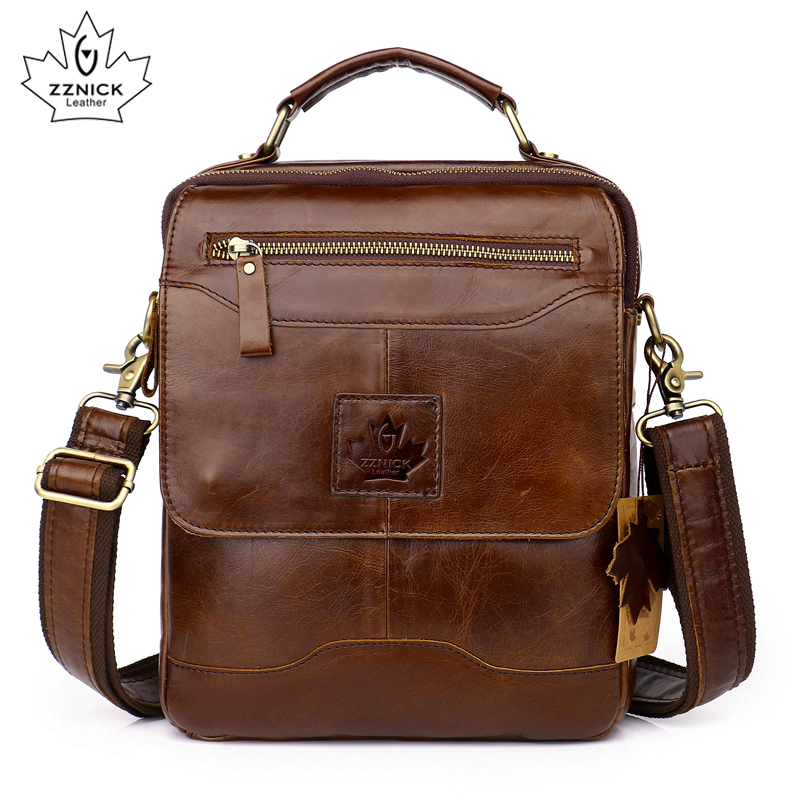 Men Genuine Cow Leather Crossbody Shoulder Bag Men Messenger Bag Fashion Leather Male Business Bag Briefcase Handbag ZZNICK