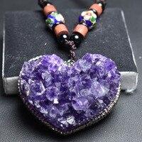 Ювелирные украшения стерлингового серебра 925 100% Природный пурпурный кристалл Аметист Свободные драгоценные камни женские ожерелья для жен