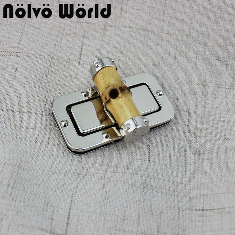 Silver Deduction Bamboo Lock For Bag Replacement Handbags Twist Turn Square Lock Handbags Lock Accessories