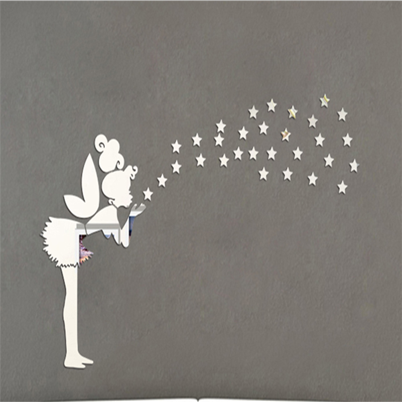47x30 Mirror Wall Stickers Tinkerbell Fairy Princess Stars 3d Wall Stickers For Kids Rooms Muursticker Poster Home Decor