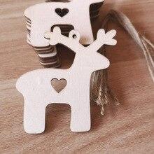 10PCs/Pack Christmas Deer Head Reindeer Xmas Tree Hanging Wooden Pendants Ornaments Party Decorations for Home Navidad