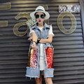 Fashion Spring and Autumn Sequins Large Pockets Vest Women Long Vintage Denim Vest With Holes in Back Sleeveless Colete 1673