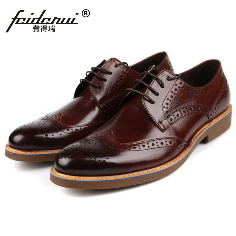 Vintage Brand Man Carved Dress Shoes Genuine Leather Cow Breathable Brogue Oxfords Round Toe Formal Men's Wing Tip Flats BD65