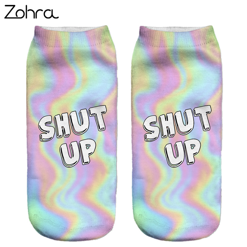 Zohra Neon Socks 3D Printing Female Socks Women Low Cut Ankle Socks Calcetines Mujer Casual Hosiery Printed Sock