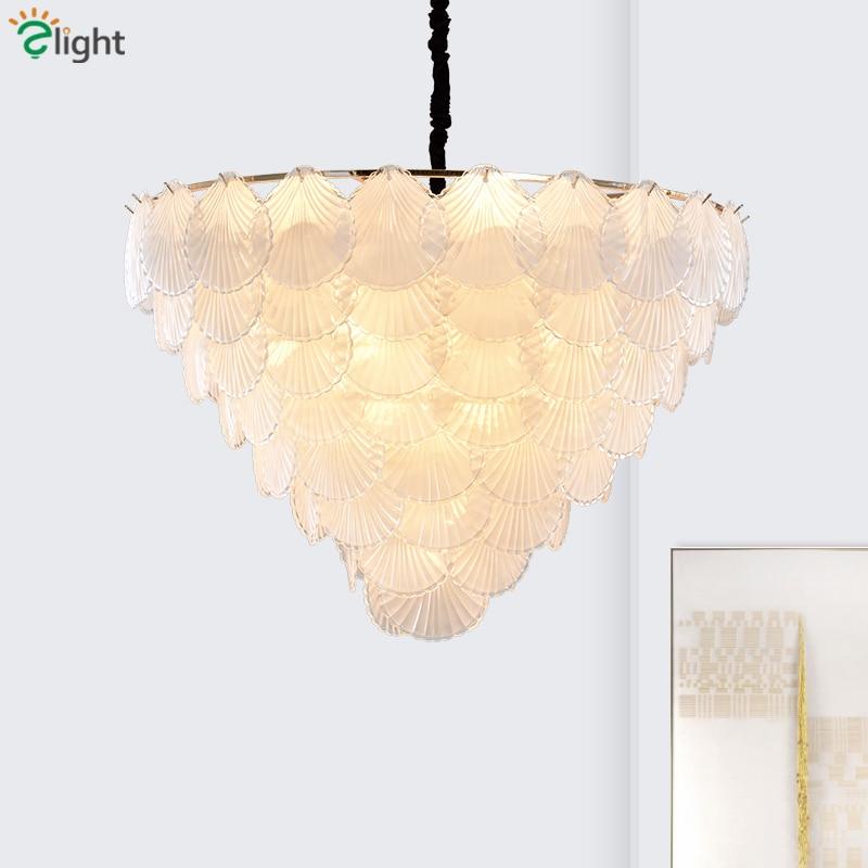 Post Modern Luxury Glass Leaves Pendant Lights Living Room Plate Gold Metal Lustre Pendant Lamp Suspend Lamp Fixtures Lamparas