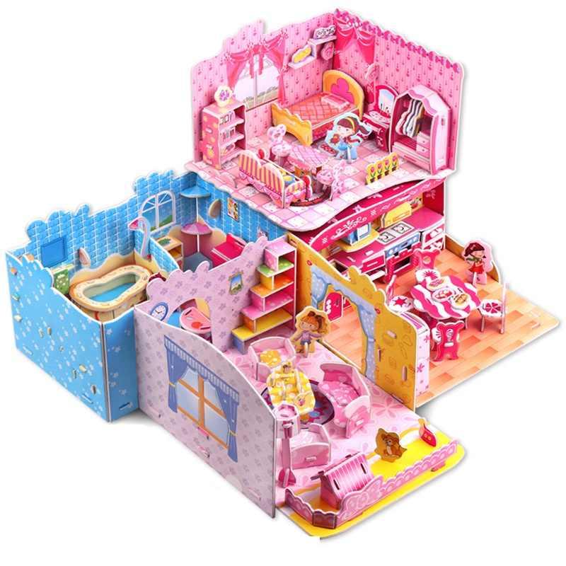 Кухня, спальня, гостиная, ванная комната, пазл 3D, сделай сам, бумажная модель, развивающие, Интересные детские игрушки для детей, Brinquedos