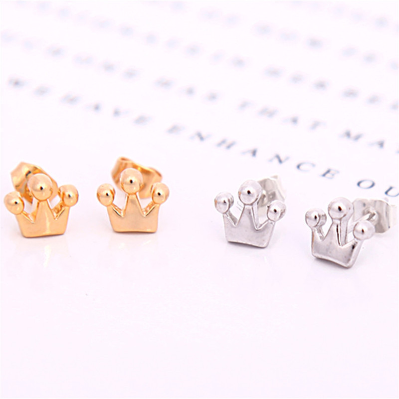 Cute Tiny Crown Earring Jewelry Gold Silver Plated Princess Stud Earrings For Women In From Accessories On Aliexpress