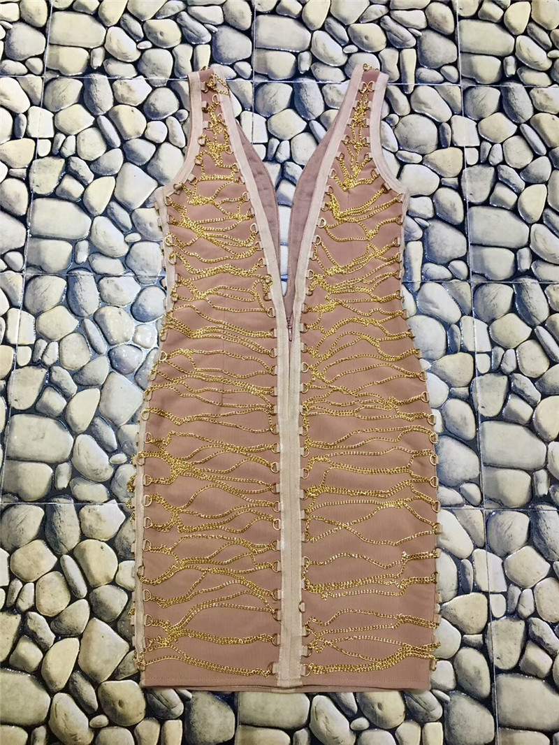 Moulante Nu Soirée Robe De Qualité Sans Cou Sexy Parti Bandage Chaîne Femmes Manches Haute V 8qg5gn