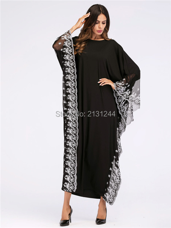 Embroidery Maxi Dress Lace Abaya Bat Sleeve Ethnic Kimono Long Robe Gowns  Muslim Ramadan Middle East Arab Islamic Clothing 005106930