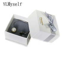 High Quality Big White Paper Gift Box for bangle or big earrings Jewelry Packaging 8.7*8.7*5 CM