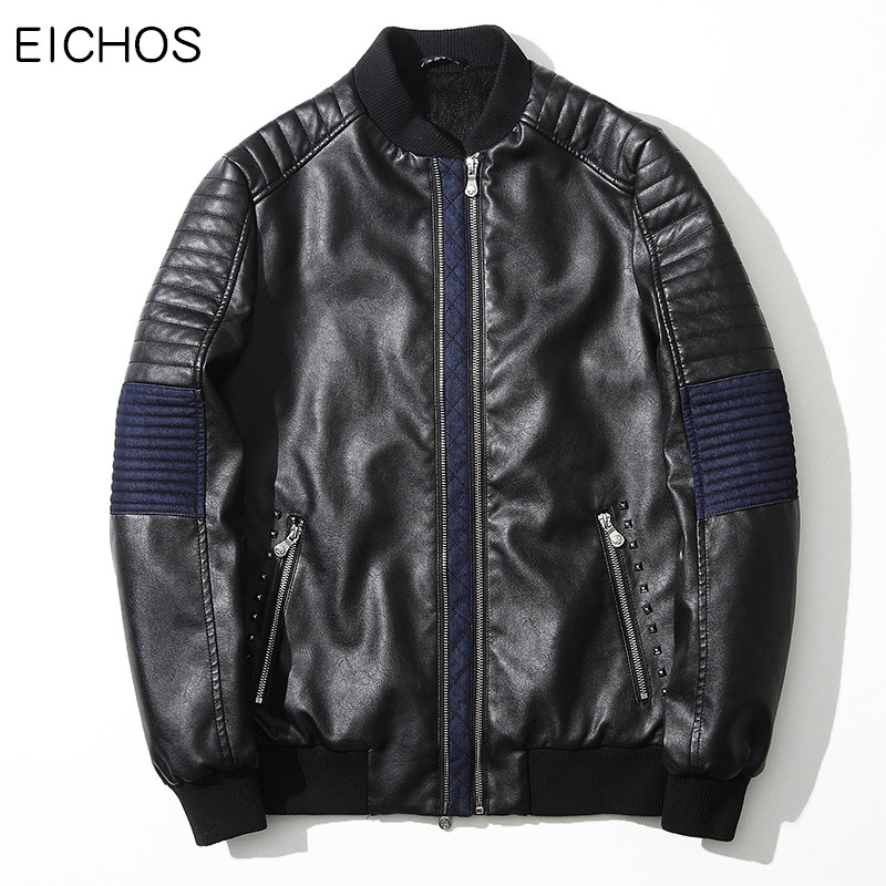 EICHOS New Mens Leather Jacket Moto Korean Stylish Patchwork Men Faux Leather Jacket Top Quality Motorcycle Jackets Male PY0901