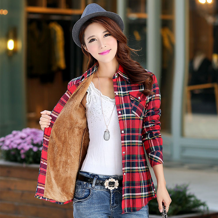 2018 Brand New Winter Warm Women Velvet Thicker Jacket Plaid Shirt Style Coat Female College Style Casual Jacket Outerwear(China)