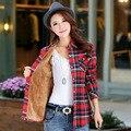 2016 Новый Зима Теплая Женщины Бархат Толще Куртки Плед Стиль Рубашки Пальто Женского Колледжа Стиль Повседневные Куртки Верхняя Одежда
