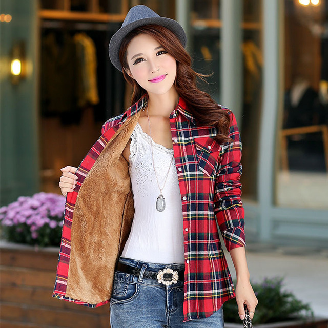 2018 Brand New Winter Warm Women Velvet Thicker Jacket Plaid Shirt Style Coat Female College Style