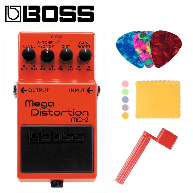 Boss MD 2 Mega Distortion Modulation Multi Effects Pedal With Picks, Polishing Cloth and Winder