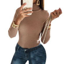 9274ede604a Romper Knitted Long Sleeve Sexy Women Body Club Wear Khaki Bodysuits  Turtleneck Jumper Female Skinny Tops Autumn Overalls M0286