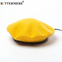BUTTERMERE French Beret Women Autumn Winter Wool Leather Female Japanese Vintage Blue Yellow Purple Green Womens Felt Cap