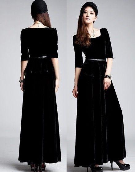 7e98e71338c Dame j599 femmes robe longue manches 3 4 velours noir bleu XXL dans ...