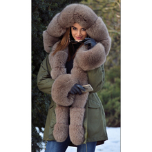Tatyana Women Real Fur Parka Fox Collar And Cuff Womens Parkas Winter Thick Warm 2018 Natural Jacket Long