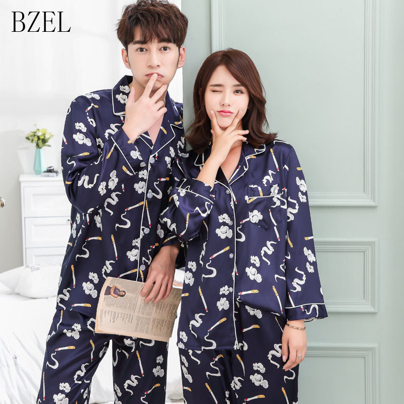 BZEL Couples Women Men Autumn Male Long Sleeve   Pajamas     Sets   Silk Satin Sleepwear Casual Lounge Wear Lovers' Clothes Unisex Look