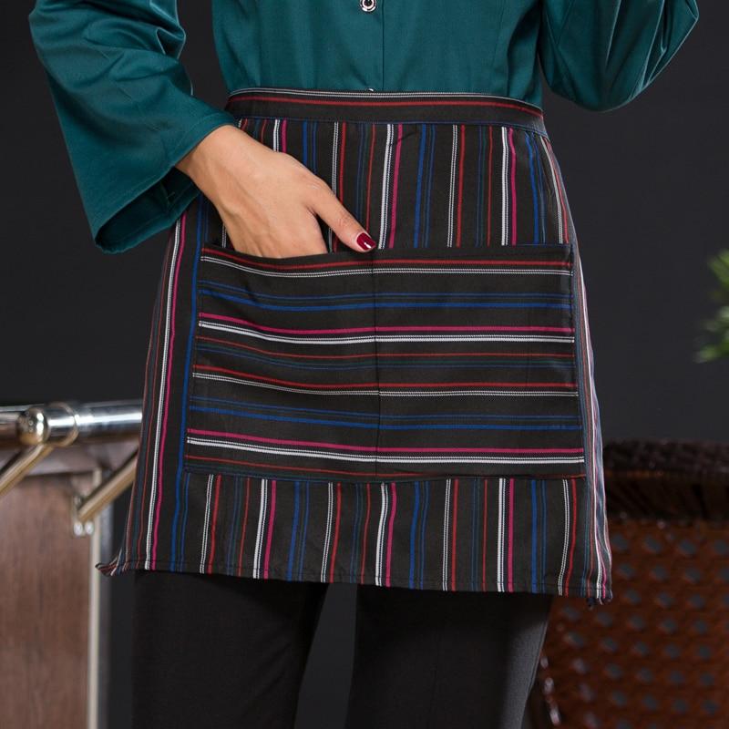 Hotel Uniform Attendant Apron  Black And White And Brown Color Short Fashion Waiter Apron