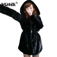 2018 Women Faux Fur Coat Hooded Long Jacket Two Sided Wear Thick Warm Faux Fox Hair Coats Fur Winter Jackets Outwear Black Color