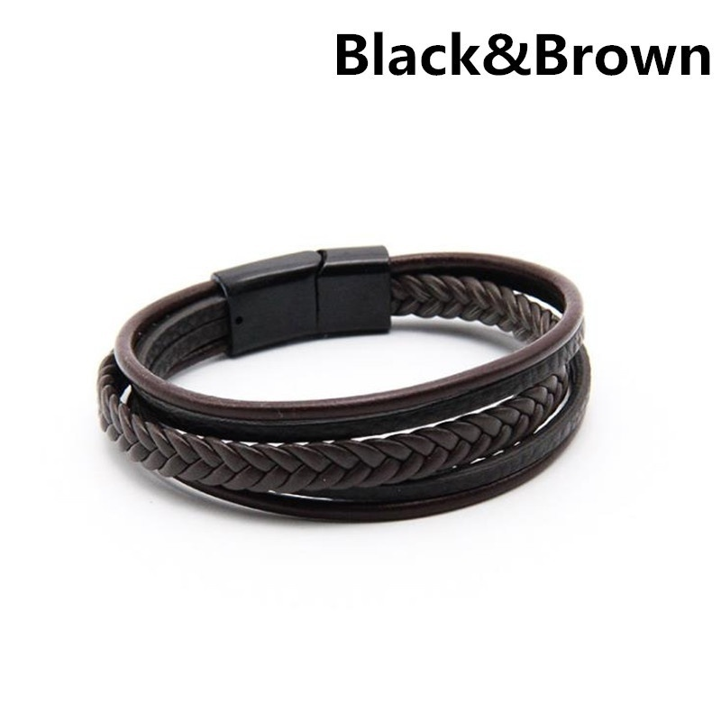 New Bracelets & Bangles Men Stainless Steel Leather Braided Rope Magnetic Clasp Male Jewelry