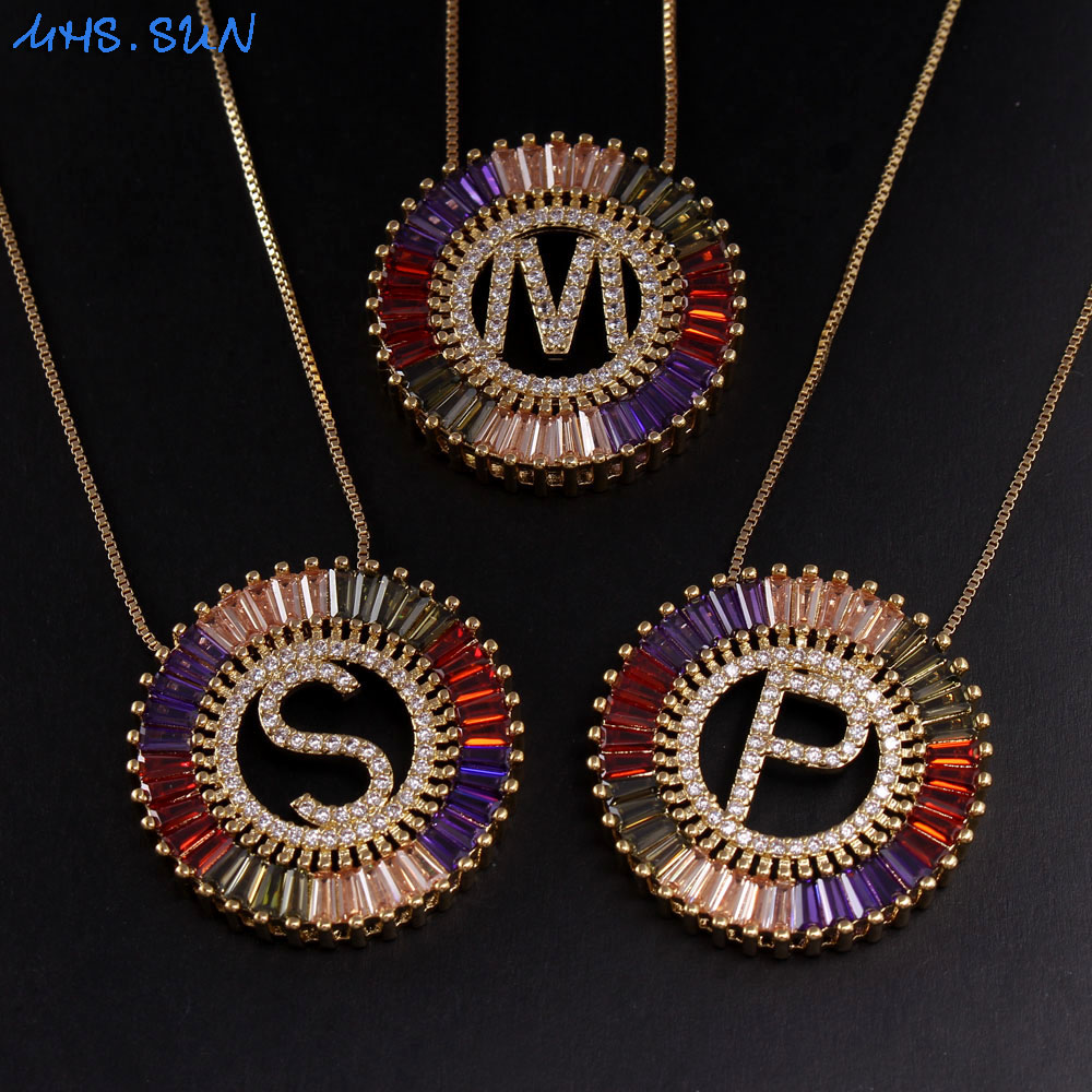 MHS.SUN Newest Gold Color 26 Letter Pendant Necklace Alphabet Chain Necklace Colorful CZ Zircon Jewelry For Women Christmas Gift