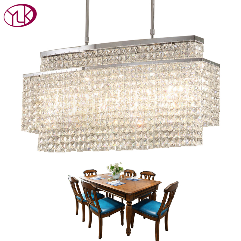 Youlaike Modern Crystal Chandelier For Dining Room Rectangle Chandeliers Lighting Fixtures Kitchen Island Led Res De Cristal