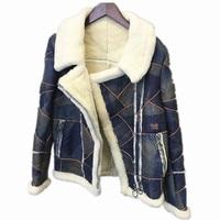 Дубленка женская пальто меховой опушкой Куртка женская утепленная зима толстые Дубленки натуральный мех кожа пальто с мехом овчины C166