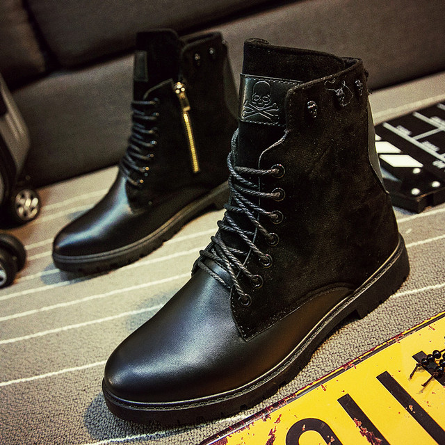 High Quality Men Long Boots Brown Zip Pipe Boots ...