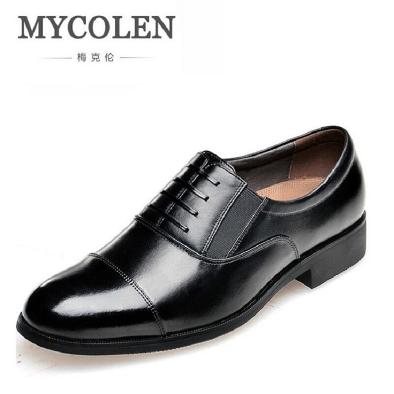 MYCOLEN Genuine Leather Men Dress Shoes Party Wedding Male Business Gentleman Shoes Oxfords Flats Shoes Zapatos Hombre Vestir цена
