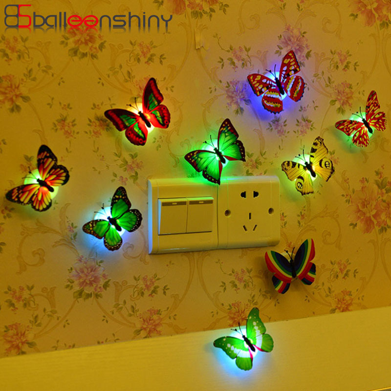 BalleenShiny Butterfly Light-up Baby Toys Colorful Beautiful LED Light Children Room Decoration Wall Light Creative Party Toy