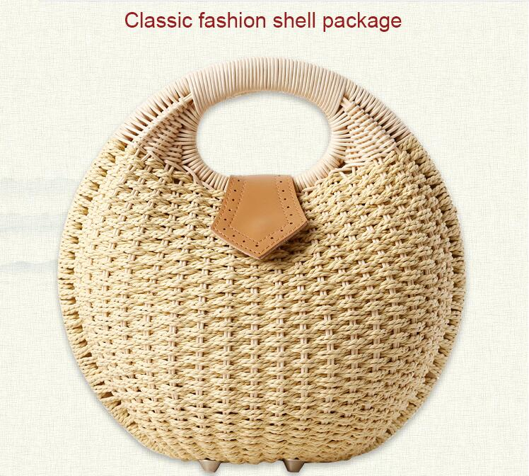 Drop shipping Vintage Rattan made Waterproof shell Shoulder Bag Female Totes for Daily Shopping All-Purpose High Quality Dames
