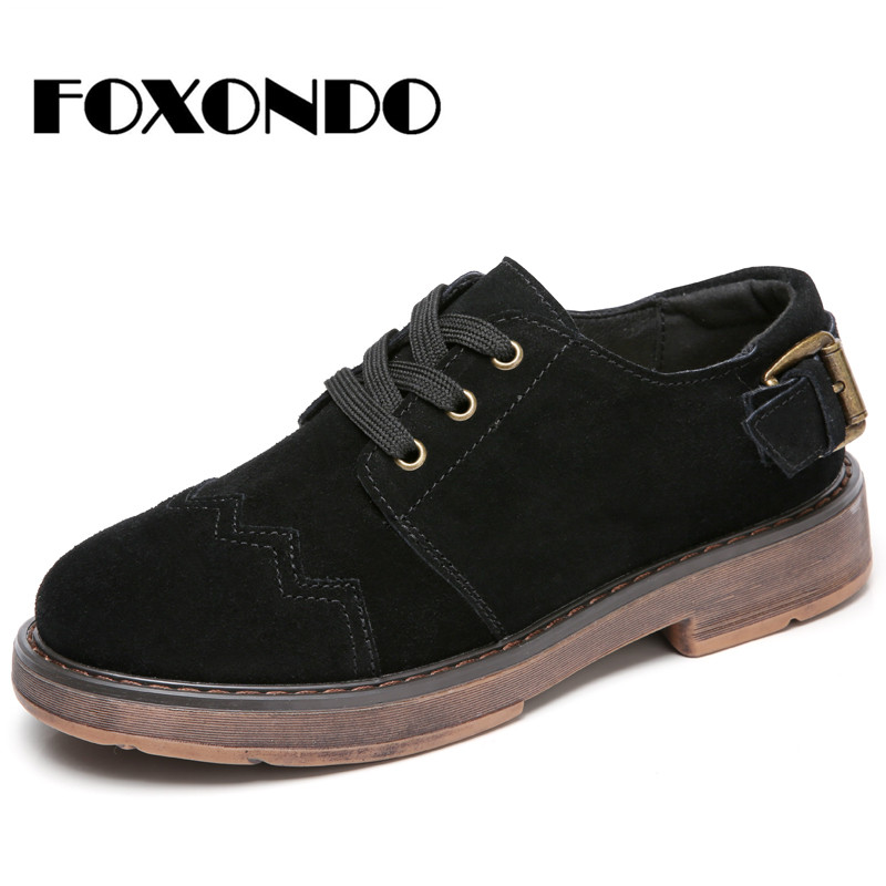 FOXONDO 2019 Autumn women oxford shoes flats shoes women   leather     suede   brogue lace up boat shoes round toe flats moccasins 1703