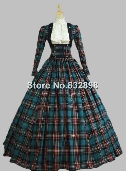 Victorian Civil War 3 pc Classic Tartan Period Dress Ball Gown ...