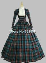 Victorian Civil War 3 pc Classic Tartan Period Dress Ball Gown Reenactment Theatre Clothing