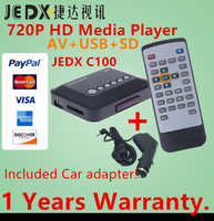 JEDX C100 Multimedia player Mini HD 720P Car Media Player TV box Support 1280*720p MKV RM AV SD USB SDHC MMC with Car adapter