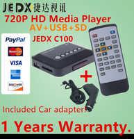 JEDX C100 Multimedia player Mini HD 720P Car Media Player TV box Support 1280*720p MKV RM AV SD USB SDHC MMC with Car adapter