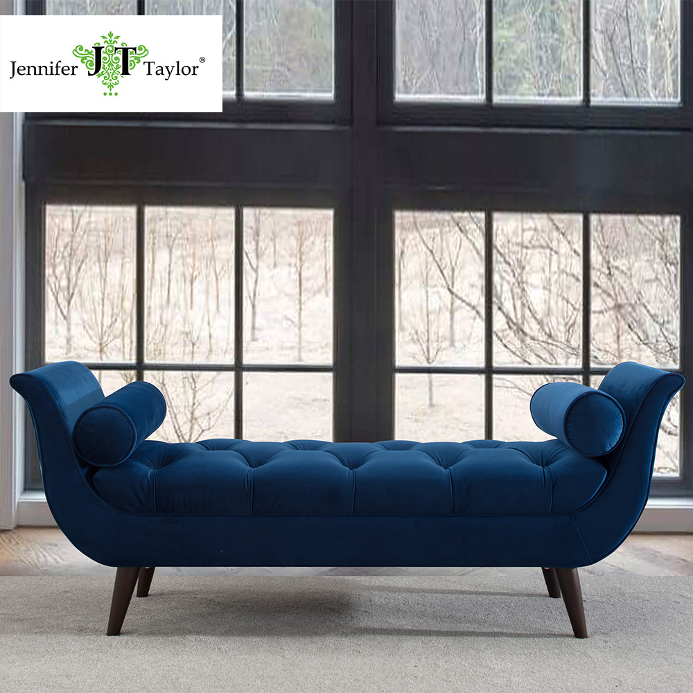 Jennifer Taylor Home, Entryway Bench, Hand Tufted, Hand Painted and Hand Rub Finished Legs 64 1/2Wx20Dx25 1/2H 85170 jennifer taylor home sofa bed hand tufted hand painted and hand rub finished wooden legs 65000 584 859 865