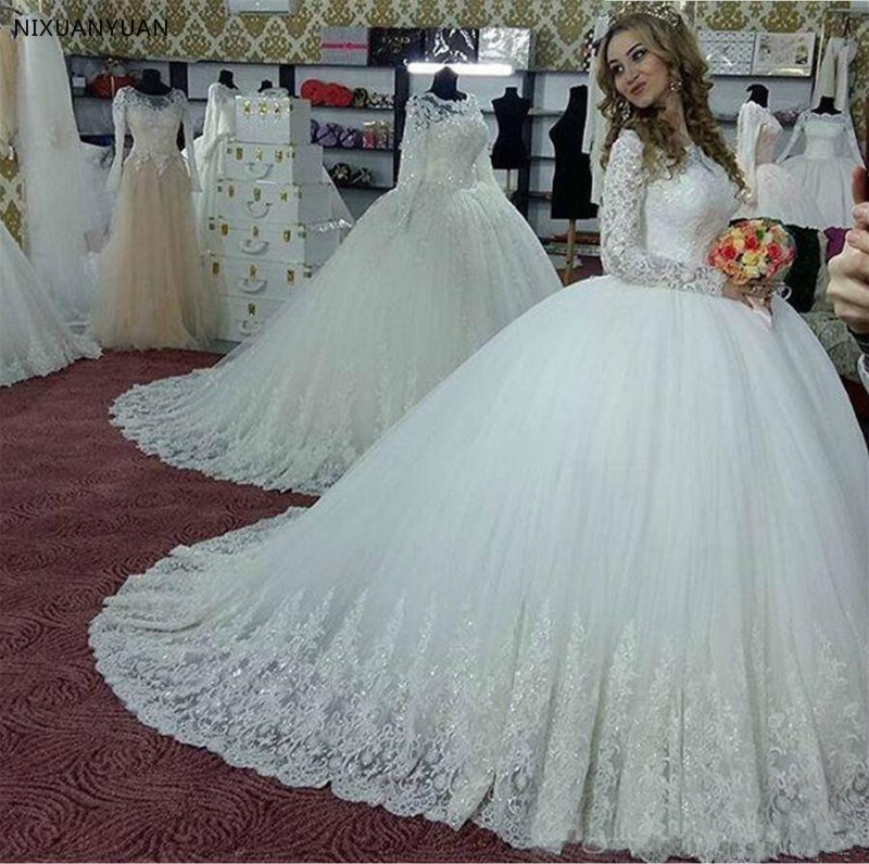 2020 Vintage Long Sleeves Lace Ball Gown Wedding Dresses Illusion Neckline Long Sleeve Court Train Plus Size Wedding Bridal Gown