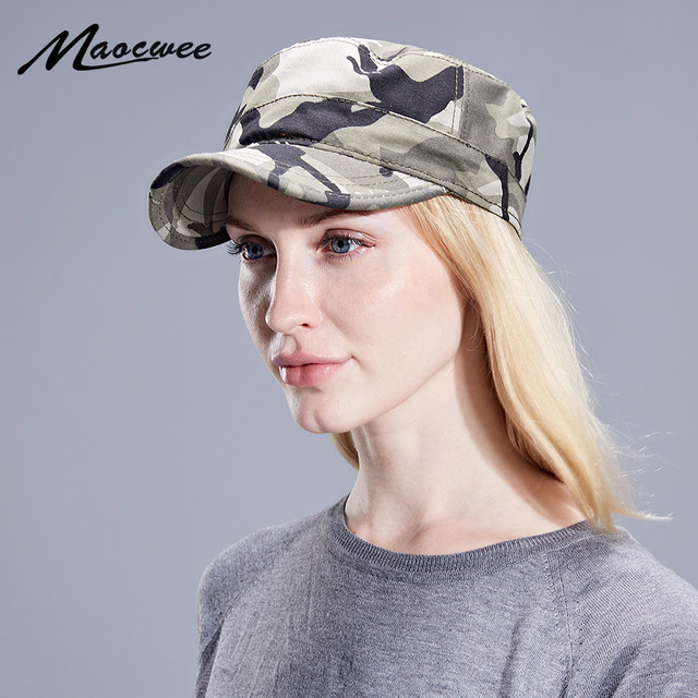 7a85d25dc28 Unisex Army Camouflage Flat Top Mens Women Caps Hat Adjustable Casual  Military Hats for Men Snapback