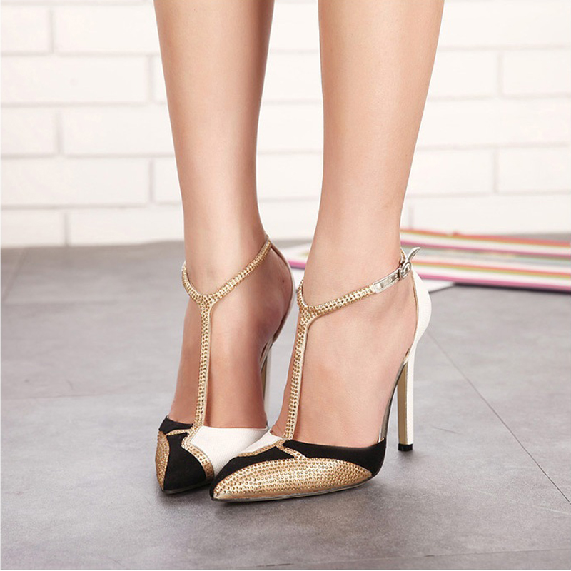 Luxury rhinestone high heels woman party wedding shoes sexy pointed toe women pumps summer t-strap ladies sandals plus size 40 цены онлайн